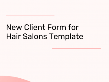 New Client Form for Hair Salons