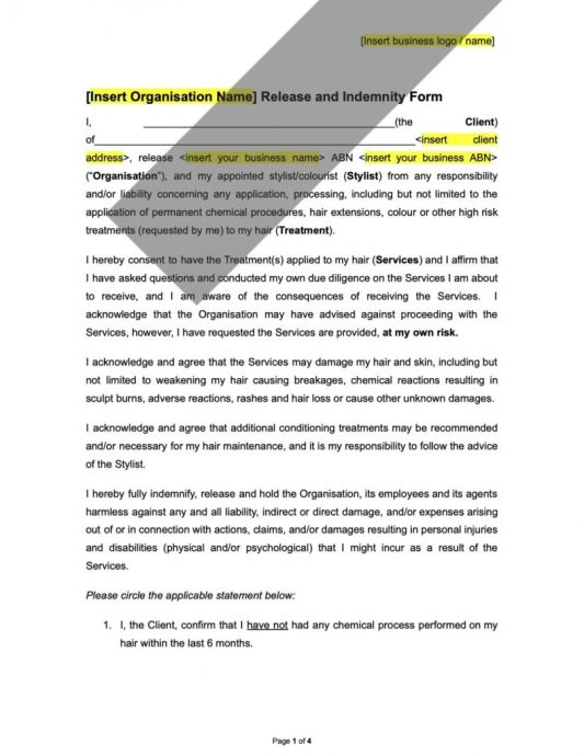 Sample Release and Indemnity Template