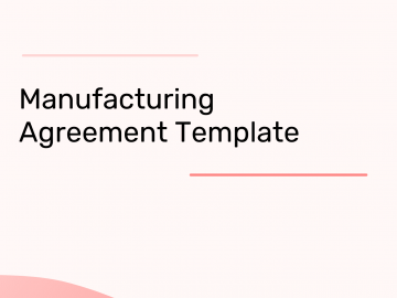 manufacturing agreement template